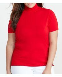 Lauren by Ralph Lauren | Red Plus Short-sleeve Turtleneck Top | Lyst