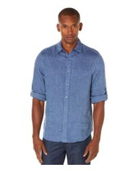 Perry Ellis | Blue Roll-sleeve Long-sleeve Linen Blend Chambray Solid Woven Shirt for Men | Lyst