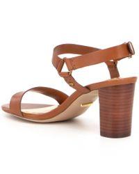 Lauren by Ralph Lauren Brown Harri City Leather Ankle Strap Sandals