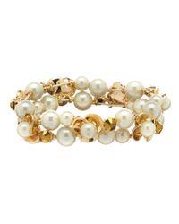 Anne Klein | Metallic Pearl Blossom Flower Stretch Bracelet | Lyst