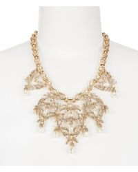 Belle By Badgley Mischka | Metallic Vintage Pavé & Faux-pearl Openwork Collar Necklace | Lyst