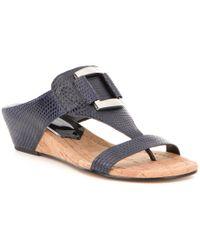 Donald J Pliner | Blue Daun Lizard Printed Leather Wedge Sandals | Lyst