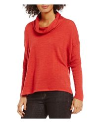 Eileen Fisher | Red Ultrafine Merino Cowl Neck Solid Box-top Sweater | Lyst