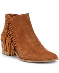 Kenneth Cole Reaction | Brown Rotini Knotted Fringe Block Heel Booties | Lyst