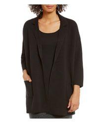 Eileen Fisher | Black Silk Organic Cotton Interlock Notch Collar Jacket | Lyst