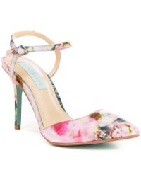 Betsey Johnson - Pink Anina Floral Satin Pointed Toe Ankle Strap Pumps - Lyst