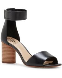 Vince Camuto | Black Jacon Leather Banded Ankle Strap Circular Heel Sandals | Lyst