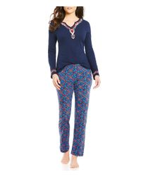 Lucky Brand | Blue Floral Bordered Pajamas | Lyst