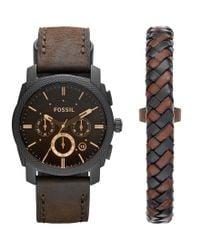 Fossil - Brown Machine Leather-strap Watch & Bracelet Box Set for Men - Lyst