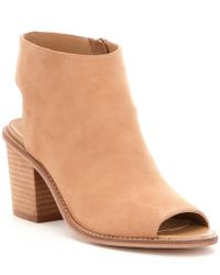 Chinese Laundry | Natural Calvin Leather Peep Toe Block Heel Booties | Lyst