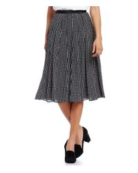 Karl Lagerfeld | Black Dotted Pleated A-line Skirt | Lyst