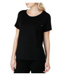 Kensie - Black Jersey & Lace Sleep Top - Lyst