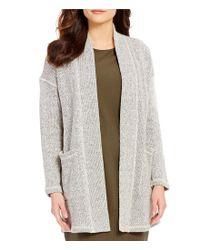 Eileen Fisher | Gray Shawl Collar Long Sleeve Open Front Kimono Cardigan | Lyst