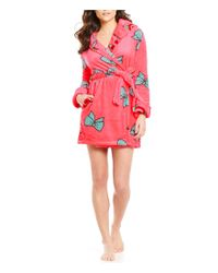 Betsey Johnson | Red Pop Art Bows Plush Robe | Lyst