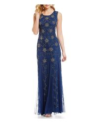 Adrianna Papell | Blue Sleeveless Floral & Scroll Beaded Bodice Gown | Lyst