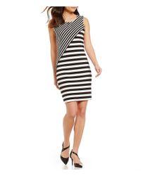 Calvin Klein | Black Mixed Stripe Matte Jersey Sleeveless Dress | Lyst