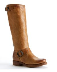 Frye | Brown Veronica Leather Pull-on Slouch Boots | Lyst