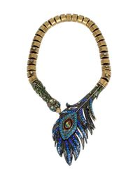 Betsey Johnson | Blue Peacock Statement Necklace | Lyst