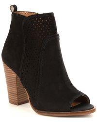 Lucky Brand | Black Lakmeh Perforated Leather Block Heel Peep-toe Booties | Lyst
