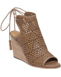 Lucky Brand | Brown Riskee Cut-out Leather Peep-toe Ankle-tie Wedge Sandals | Lyst