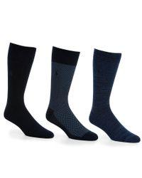 Polo Ralph Lauren | Blue Super Soft Birdseye Crew Dress Socks 3-pack for Men | Lyst