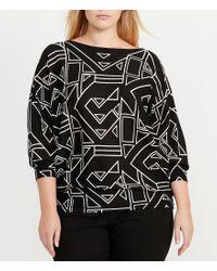 Lauren by Ralph Lauren | Black Plus Bateau Neck Dolman Sleeve Geometric-print Sweater | Lyst