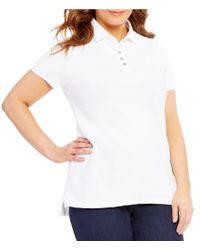 Lauren by Ralph Lauren | White Plus Monogram Short Sleeve Polo Shirt | Lyst