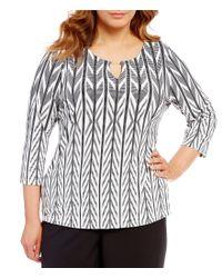 Calvin Klein | Black Plus 3/4 Sleeve Matte Jersey Hardware Top | Lyst