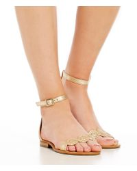 Jack Rogers - Metallic Daphne Leather Ankle Strap Sandals - Lyst