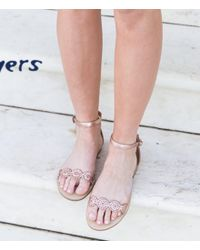 Jack Rogers | Pink Daphne Leather Ankle Strap Sandals | Lyst