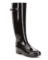 HUNTER | Black Boots Tall Glossed Rubber Pull On Water Proof Penny Loafer Rain Boots | Lyst
