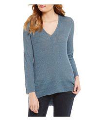 Eileen Fisher | Blue V-neck Long Sleeve Top | Lyst