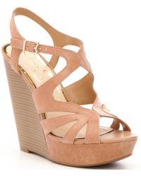 Jessica Simpson Brown Brissah Leather Platform Wedge Sandals