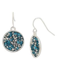 Kenneth Cole | Blue Sprinkle Stone Round Drop Earrings | Lyst
