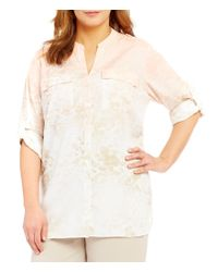 Calvin Klein | Multicolor Plus Roll-tab Sleeve Button Front Blouse | Lyst