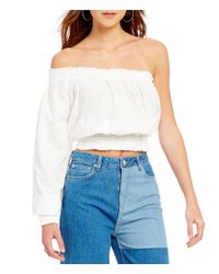 Free People | White Annabelle Poplin One-shoulder Blouse | Lyst