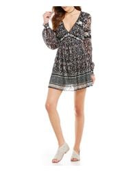Free People | Black Cherry Blossom V-neck Long Sleeve Embroidered Lace Mini Dress | Lyst