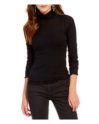 Free People | Black Modern Cuff Mock Neck Long Sleeve Fitted Layering Tee | Lyst