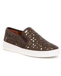 MICHAEL Michael Kors   Brown Keaton Floral Perforated Slip On Sneakers   Lyst