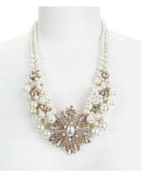 Belle By Badgley Mischka | Metallic Vintage Faux-pearl Cluster Statement Necklace | Lyst