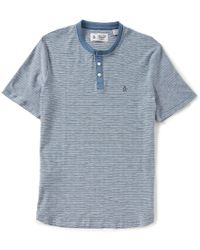 Original Penguin | Blue Tri-colo Feeder Stripe Short-sleeve Henley Shirt for Men | Lyst