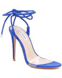 Steve Madden   Blue Lyla Suede Clear Strap Ankle Tie Stiletto Dress Sandals   Lyst