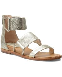 Isola - Shiloh Metallic Leather Double Banded Ankle Strap Sandals - Lyst