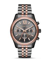 Michael Kors | Metallic Lexington Chronograph Stainless Steel Bracelet Watch | Lyst