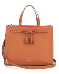 kate spade new york   Brown Hayes Street Collection Isobel Tasseled Bow Tote   Lyst