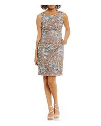 Ivanka Trump | Black Embroidered Floral Mesh Lace Sheath Dress | Lyst