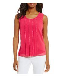 Calvin Klein | Pink Stud Trim Pleat Front Shell | Lyst