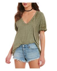 Free People | Multicolor Free Fallin V-neck Short Sleeve Burnout Tee | Lyst