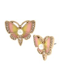 Betsey Johnson   Metallic Pavé Butterfly Stud Earrings   Lyst