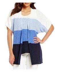 Jones New York | Blue Coloblock Fine Gauge Slub Knit Cardigan | Lyst